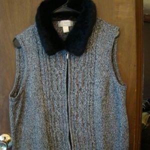 CJ Banks Marbled Vest w/ Removable Fur Collar, 1x